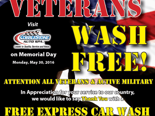 Free car wash for veterans on Memorial Day