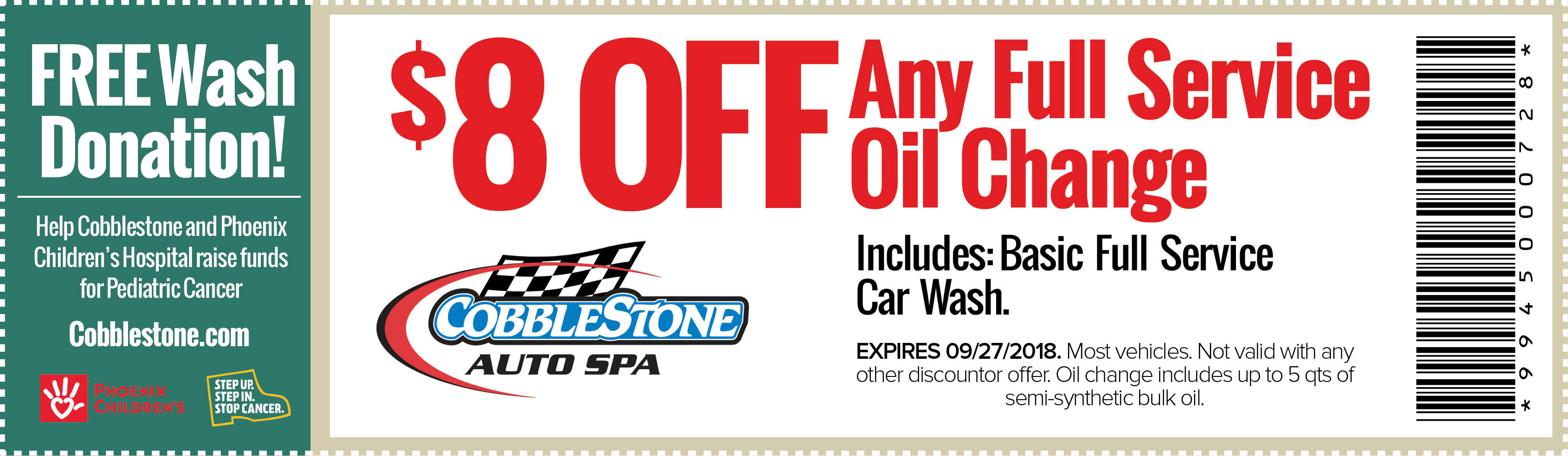 back to school couoon - save $8 off full service oil change